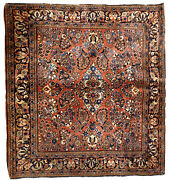 Handmade Antique Oriental Rug 4.1and039x 4.1and039 125cm X 125cm 1920s - 1b723