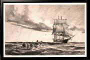 Very Large Original Drawing By Gordon Hope Grant N.a. The Whale Hunt