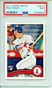 2011 Topps Update 175 Mike Trout Rookie Psa 9 Mint Much Nicer Los Angeles Angel