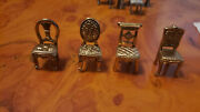 Vintage Assorted Miniature Goldtonepewter Chairs Placecard Holders Dollhouse 4