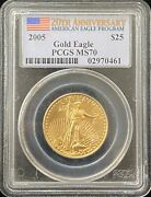 2005 American Eagle 25 Dollar Gold Coin Pcgs Ms 70
