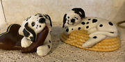 Pg Fine Porcelain Dalmatians - Dog Tired And Mischief Afoot Figurines 1994