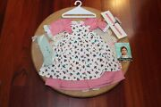American Girl Doll Felicity Ret And Rare Spring Gown And Pinner Apron Set New