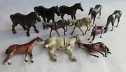 Vintage Lot Of Horses, Le Perche And Others, Farm Animals Lead Figures,argentine