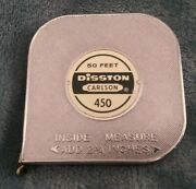 Vintage 50and039 Disston Carlson 450 Reel Metal Tape Measure Great Condition