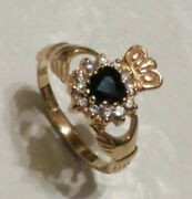 9ct 375 Yellow Gold Traditional Claddagh Sapphire And Cz Ring. Size L. Boxed