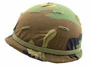 Us M1 Helmet And Liner W/ Woodland Camo Cover