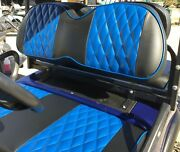 Custom Diamond Pleated Golf Cart Seat Coversblack Cf W/blue Chip Stipes And Ppng