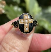 Old Antique 19th Century Gold Split Pearl Cross And Black Enamel Mourning Ring