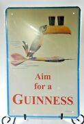 Aim For A Guinness Embossed Metal Collectible Sign 8 X 12 Tin Wall Art Sign T3