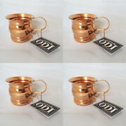 New 4- Unique Odi Solid Copper Moscow Mule Mug With Flat Handle16 Oz. Set Of 4