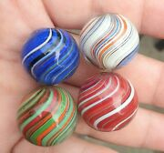 4 X Stunning Large 7/8+ To 15/16 Vibrant Joseph Coat Shooter Marbles Wet Mm