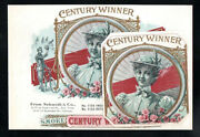 1898 Schmidt And Co Litho Sample Cigar Labels - Century Winner - Antique Bicycle