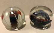 2 Signed Drew Smith's Glasshouse Bleeding Heart And Celestial Glass Paperweights