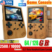 Rg351v Handheld Game Console Wood 64gb/128gb Ready To Play 2500 Classic Hd Games