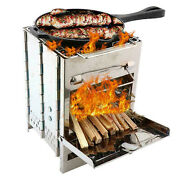 Folding Portable Bbq Barbecue Grill Stove Camping Garden Stainless Steel Us