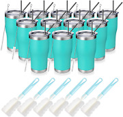 Manyhy 20oz Stainless Steel Insulated Tumbler, 12 Pack Bulk Travel Mug With Lid,