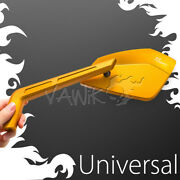 Vawik- Gold Mirrors Cnc Cleaver Look Fits Motorcycle Cafe Racer Bobber Andtheta