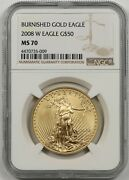 2008-w Burnished Gold Eagle 50 One Ounce Ms 70 Ngc 1 Oz Fine Gold