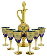 Murano Glass Decanter Set With Six Wine Glasses 24k Gold Leaf - Blue