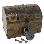 Pirate Treasure Chest With Iron Lock And Skeleton Key - Small 8 X 6 X 6