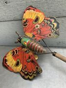 Vintage Push Litho Butterfly Child's Toy. Early Americana.