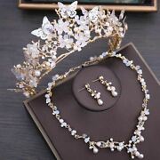 Crystal Beads Pearl Butterfly Costume Floral Rhinestone Choker Necklace Earrings