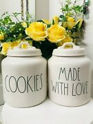 Rae Dunn Large Cookie Made With Love Ll Letters Canisters Jars Set Farmhouse New