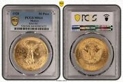 Mexico Gold 50 Pesos 1928 Pcgs Ms 64 - Early Years Rare