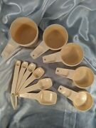 Vintage Tupperware Plastic Measuring Spoons And Cups Almond Beige Incomplete