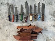 Special Discount Custom Handmade Hunting Damascus Knives Lot Of 9 Knives