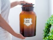 X-large Apothecary Jar, Amber Glass With Lid