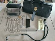 Vintage Lilly Leather And Brass Medical Doctorand039s Bag With Tools Tycos Cuff