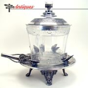 Silver Plated Victorian Biscuit Jar With Butterfly Mounts