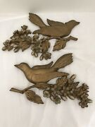 Vintage Mid Century Syroco Wall Plaques Bird Dogwood Flowers Gold