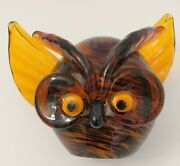 Brown And Black Striped Glass Owl Head Paperweight Hand Blown Orange Eyes