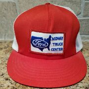 Vintage Ford Midway Truck Center Patch Trucker Snapback Hat Made In U.s.a. Euc