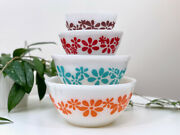Rare Find Agee Pyrex 'daisy Chain' Nesting Bowl Set - Complete