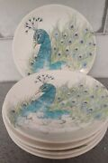 5 Lot/set Edie Rose Home Peacock Dinner Plates 9 Nice/vg Peacock Collection