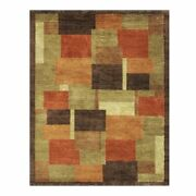 Feizy Keystone 7and0399 X 9and0399 Hand Knot Color Block Wool Area Rug In Brown/rust