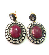 925 Sterling Silver Vintage Antique Style Rose Cut Diamond And Ruby Drop Earrings