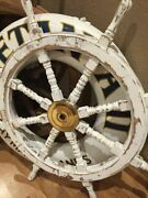 Hand Painted Wooden Ship Wheel Distressed White 36 Nautical Beach Home Decor