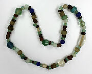 Antique Columbia River Trade Beads Necklace Tong Molded Faceted 31l 19th Cent