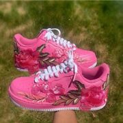 🌹 Nike Air Force 1 07 Low White Pink Rose Flower Floral Custom Shoes All Sizes