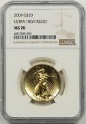 2009 Uhr Ultra High Relief G20 Ngc Ms 70 Gold Double Eagle