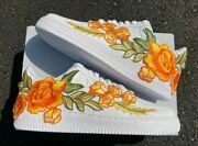 🍊 Nike Air Force 1 07 Low Orange Rose Flower Floral White Custom Shoes All Size