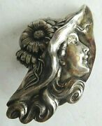 Antique Unger Brothers Art Nouveau Sterling Silver Lady In Hat Large Pin, 2 3/4
