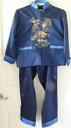 Vintage Chinese Embroidery Dragon 2 Pc Boy's Blue New Year/wedding Costume