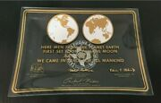 Vintage First Men On The Moon 1969 Glass Candy Dish Texas Telephone Assoc.