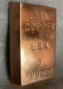 Hand Poured Copper Bars 5 Pounds Hand Poured .999 Cu Made With All Clean Wire